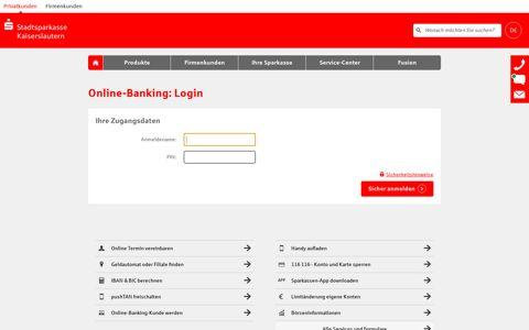 Login Online-Banking - Stadtsparkasse Kaiserslautern