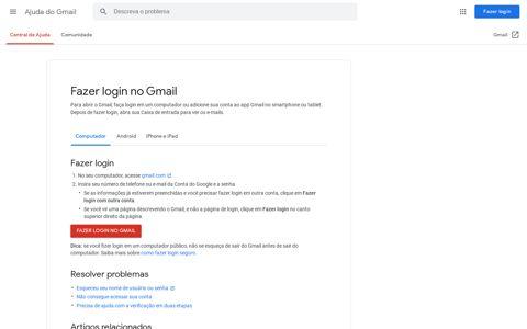 Fazer login no Gmail - Computador - Ajuda do Gmail - Google ...