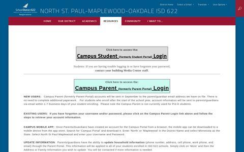 Parent Portal - North St. Paul-Maplewood-Oakdale ISD 622