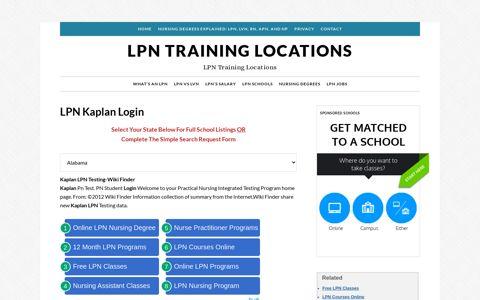 LPN Kaplan Login | LPN Training Locations