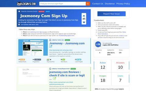 Joxmoney Com Sign Up - Logins-DB
