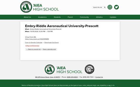 Embry-Riddle Aeronautical University-Prescott | Aiea High ...