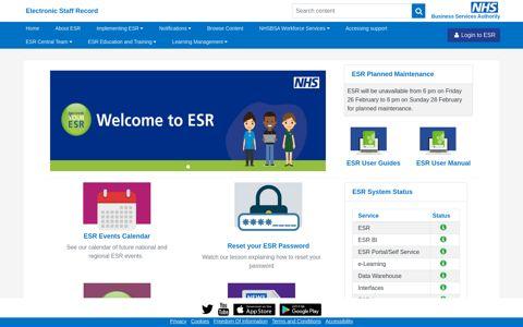 Home - ESR Hub - NHS Electronic Staff Record