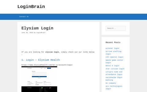 Elysium - Login - Elysium Health - LoginBrain