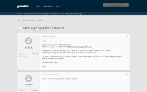 gelöst - Admin Login funktioniert nicht mehr | Gambio Forum ...