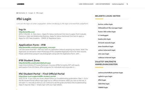 Ifbi Login | Allgemeine Informationen zur Anmeldung