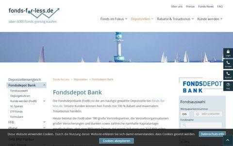 Fondsdepot Bank - Fonds mit Kickback online kaufen