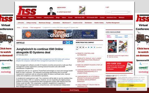 Jungheinrich to continue ISM Online alongside ID ... - HSS