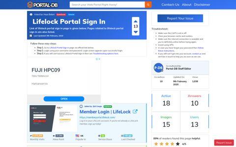 Lifelock Portal Sign In - Portal-DB.live