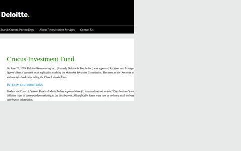 Crocus Investment Fund - Deloitte Insolvencies