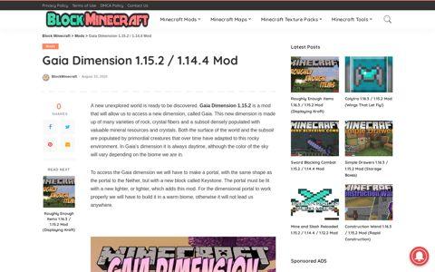 Gaia Dimension 1.15.2 / 1.14.4 Mod | Block Minecraft