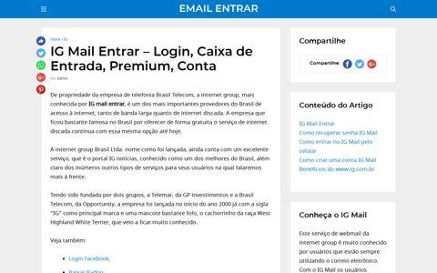 Login, Caixa de Entrada, Premium, Conta - IG Mail Entrar