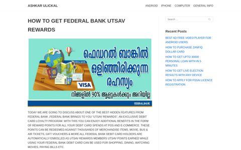 how to get federal bank utsav rewards - ashkar ulickal