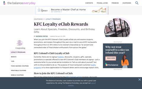 KFC Loyalty eClub Rewards - The Balance Everyday