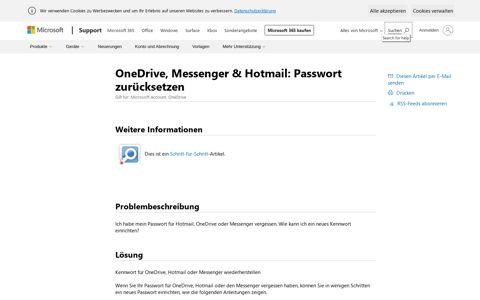OneDrive, Messenger & Hotmail: Passwort zurücksetzen