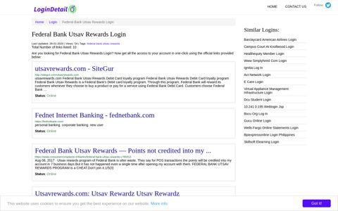 Federal Bank Utsav Rewards Login utsavrewards.com ...
