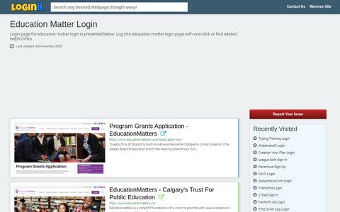 Education Matter Login - Loginii.com