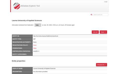 Laurea University of Applied Sciences - Metadata Explorer Tool