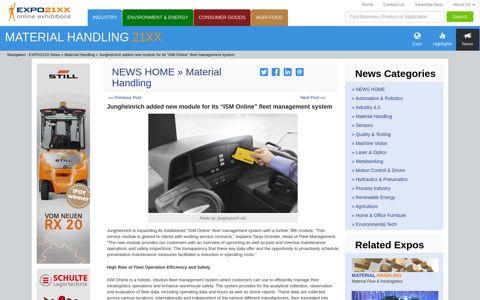 "Jungheinrich added new module for its ""ISM Online"" fleet ..."