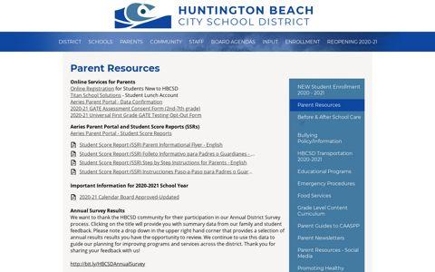 Parent Portal - Miscellaneous - Huntington Beach City School ...