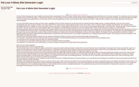 Fat Loss 4 Idiots Diet Generator Login - Google Sites