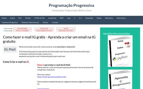 Como fazer e-mail IG grátis ... - Programação Progressiva