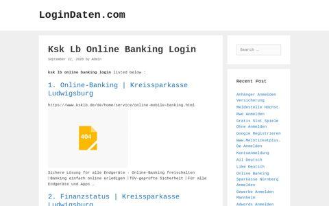 Ksk Lb Online Banking Login - LoginDaten.com