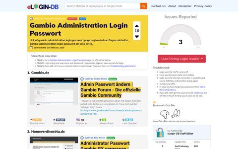 Gambio Administration Login Passwort