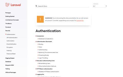 Authentication - Laravel