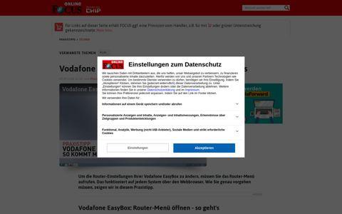 Vodafone EasyBox: Router-Menü öffnen - so geht's   FOCUS.de