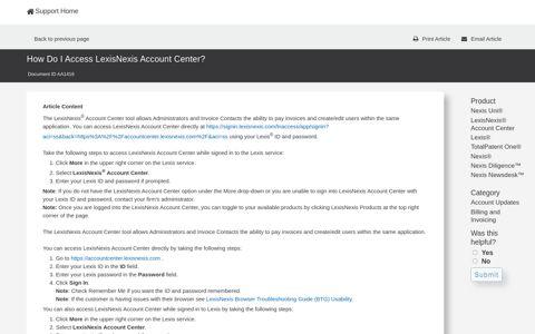 How Do I Access LexisNexis Account Center?