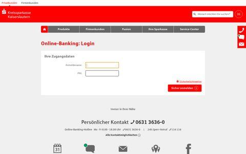 Login Online-Banking - Kreissparkasse Kaiserslautern
