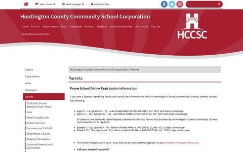 Parents - Huntington County Community School Corporation