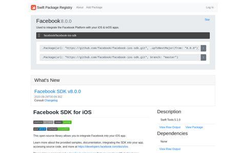 Facebook SDK for iOS - Swift Package Registry