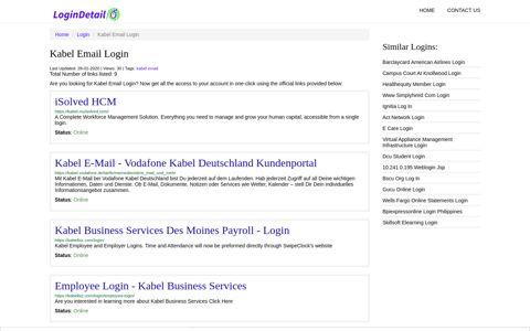 Kabel Email Login iSolved HCM - https://kabel.myisolved.com/