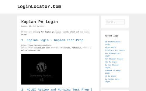Kaplan Pn Login - LoginLocator.Com