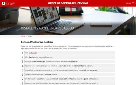 Adobe - Office of Software Licensing - The University of Utah