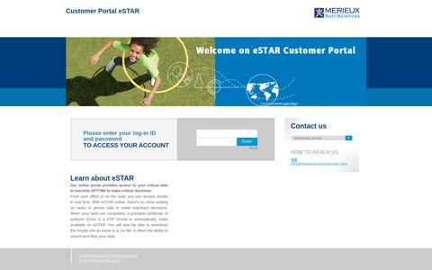 Customer Portal eSTAR - Mérieux Nutrisciences