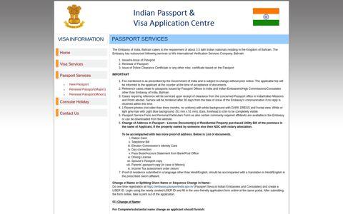 India Visa Information-Bahrain-Passport Services