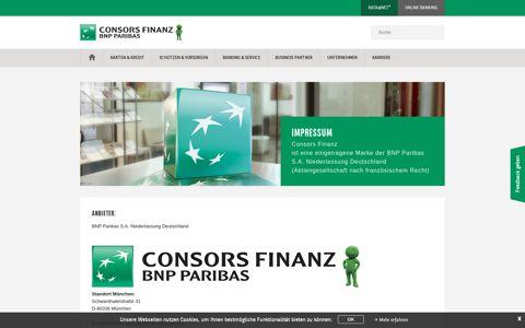 Impressum der Consors Finanz - BNP Paribas S.A. ...