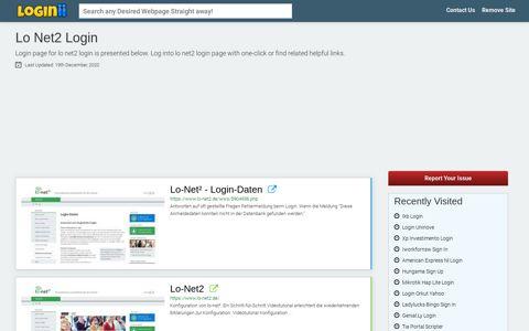 Lo Net2 Login - Loginii.com