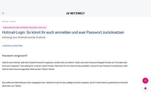Anmeldedaten oder Passwort vergessen - was tun?: Passwort ...