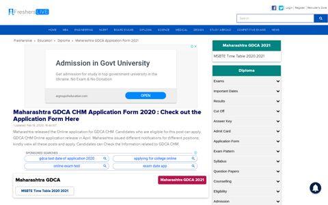 Maharashtra GDCA CHM Application Form 2020 : Check out ...