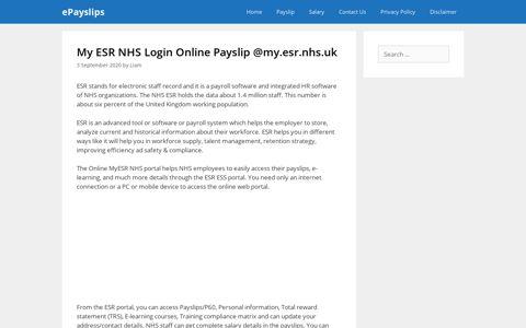 My ESR NHS Login Online Payslip @my.esr.nhs.uk - ePayslips