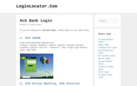 Kcb Bank Login - LoginLocator.Com