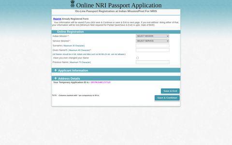 Online NRI Passport Application - NRI Applicants