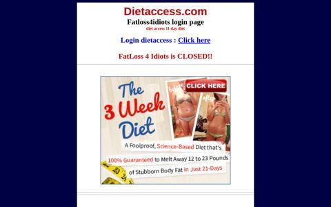 Dietaccess.com - Diet Access 11 day diet - LOGIN