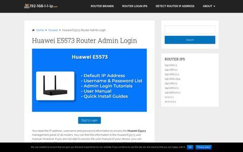 Huawei E5573 Router Admin Login - 192.168.1.1