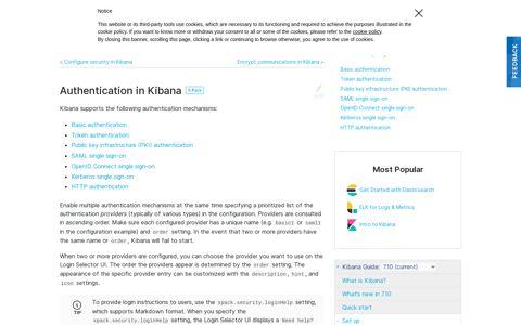 Authentication in Kibana | Kibana Guide [7.10] | Elastic