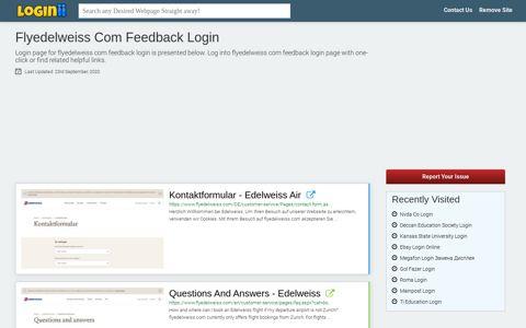 Flyedelweiss Com Feedback Login - Loginii.com